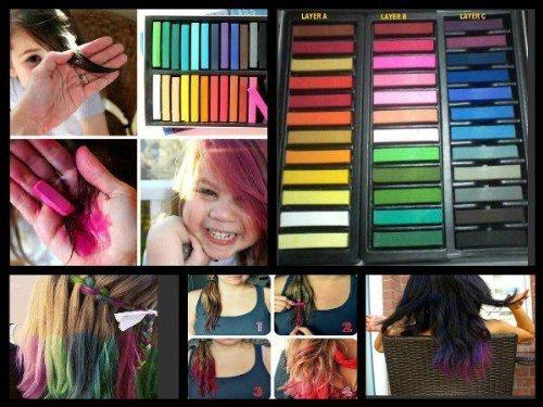 Set 24 Gessetti colorati per tinture capelli temporanee vari colori No permanenti hair art color per le tue serate glamour MWS