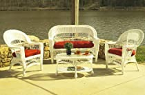 Hot Sale Outdoor Wicker Furniture Set, White, with Sunbrella Red Cushions