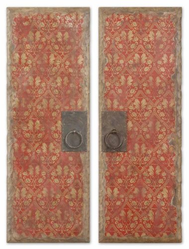 Uttermost 37-Inch by 13-Inch Red Door Panels Art, Set of 2