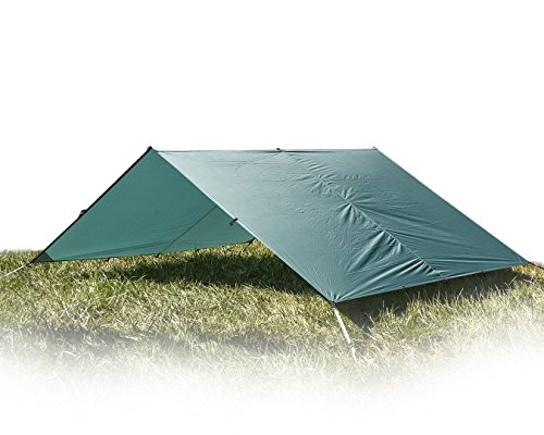 Aqua Quest Guide Sil Tarp - 100% Waterproof & Ultralight RipStop Nylon Material - 13 x 10 ft Large - Compact, Versatile, Durable Backpacking Tarpaulin - Green