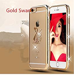 Inspirationc® Glitter Bling Crystal Rhinestone Diamonds Clear Rubber Electroplate Plating Frame TPU Soft Silicone Bumper Case Cover for Apple Iphone 6 Plus/6s Plus 5.5 Inch--gold and Swan