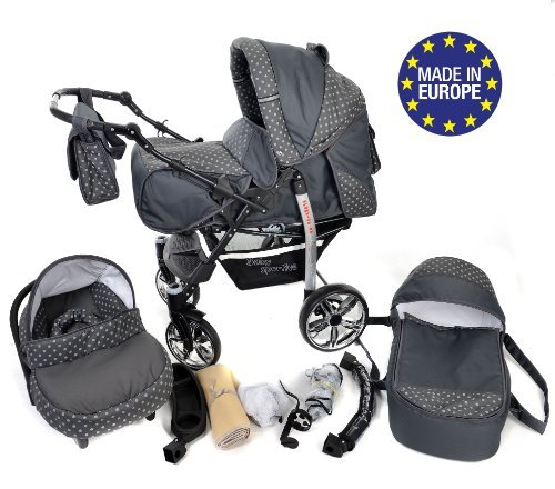 3-in-1 Travel System incl. Baby Pram with Swivel Wheels, Car Seat, Pushchair & Accessories, Grey & Polka Dots