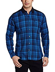 Wrangler Men's Casual Shirt (8907222643720_W1480894514F_Medium_Royal Blue)