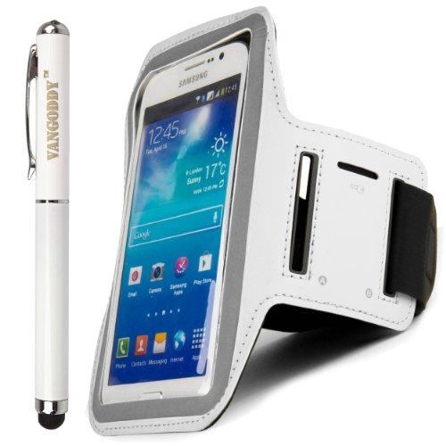 Sumaclife Hybrid Sports Armband W/ Key Slot For Lg G3 / G Pro / G Pro 2 / G Flex / Gx F310L + Laser Stylus Pen (White)