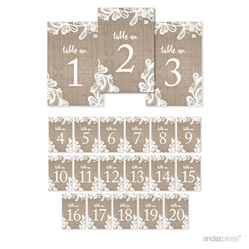 Andaz Press Burlap Lace Wedding Collection, Table Numbers 1 - 20 on Perforated Paper, Single-Sided, 4 x 6-inch, 1 Set (Burlap Number compare prices)