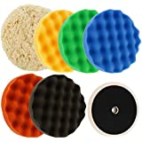"""TCP Global Brand Professional 6 Pad Buffing and Polishing Kit with 6 - 8"""" Grip Pads (5 Waffle Foam & 1 Wool) and Now Included Is a (FREE) 5/8"""" Threaded Grip Backing Plate That Fits All Standard Polishers"""