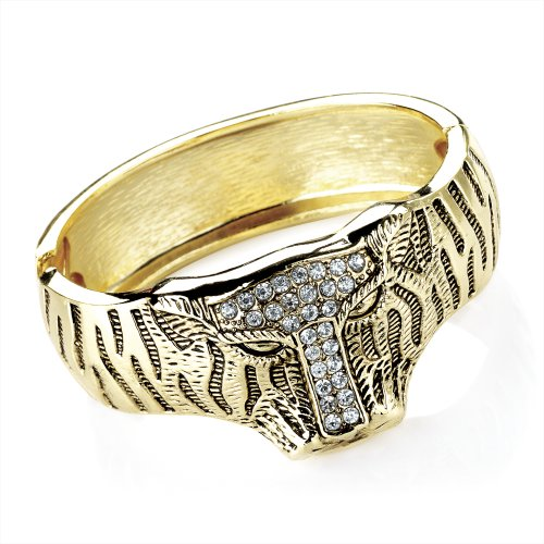 Tiger Crystal Detail Hinged Fashion Bangle Antique Gold