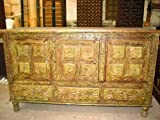 Chakra Carved Rustic Furniture Wooden Sideboard India
