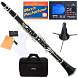 51Q08u 8IoL. SL160  Mendini MCT E B Flat Black Ebonite ABS Clarinet w/ Case, Tuner, Stand, Mouthpiece, Box of 10 Reeds, Cork Grease, & a Pair of Gloves