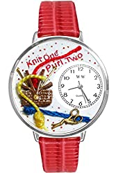 Knitting Red Leather And Silvertone Watch #WG-U0410003