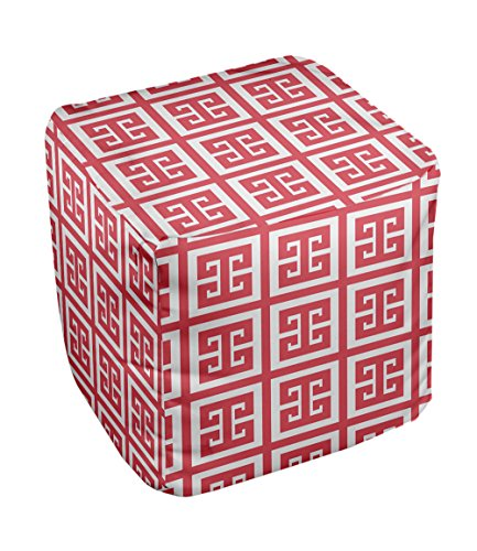 E by design Geometric Pouf, 13-Inch, Coral - 1