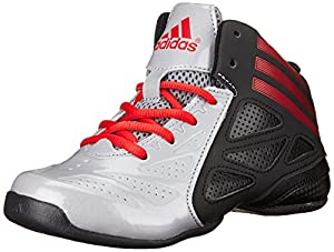 adidas Performance NXT LVL SPD 2 K Mid Cut Basketball Shoe (Little Kid/Big Kid), Clear Onix/Light Scarlet/Black 1, 13 M US Little Kid