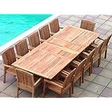 Zennor 12 Seater Garden Set - Solid Teak Rectangular Extending Table with Fixed Armchairs