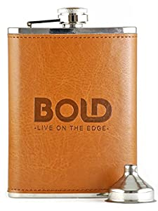 Bold Brands 3 Piece Bundle - 8 Oz. Stainless Steel Hip Flask with Brown Leather Wrapping, Funnel, Set of 9 Whiskey Stones