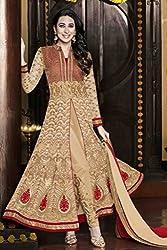 JJR Store Designer Beige Georgette Embroidered Dress material