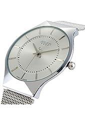 Affute Ultra Thin Quartz Watch elegant Wristwatch Stylish Mesh Wrist (White)