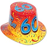 "Happy ""60"" Birthday (Yellow/Red) Hi-Hat Party Accessory by Beistle"
