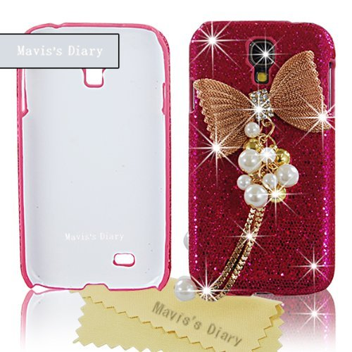 New 3D Handmade Luxury Gold Bow Pandent Bling Cover Hard Hot Red Case for Samsung Galaxy S IV S4