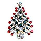 SODIAL(R)カラフルなクリスタルのクリスマスツリーブローチ、クリスマスギフト