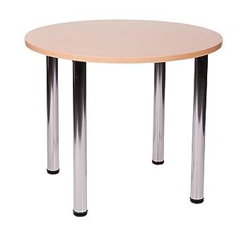 Fabian rotondo piccolo o grande tavolo da cucina con 4gambe cromate (faggio, 80cm)