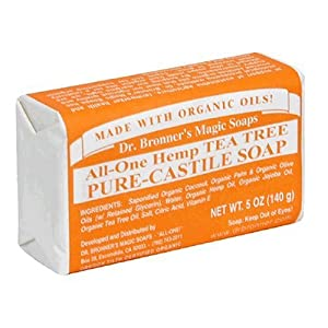 Dr. Bronner's Magic Soaps Pure-Castile Soap, All-One Hemp Tea Tree, 5-Ounce Bars (Pack of 6)