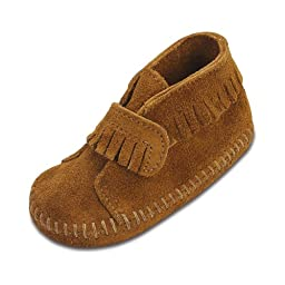 Minnetonka Front Strap Bootie (Infant/Toddler),Brown,4 M US Toddler
