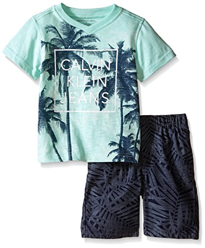 Calvin Klein Little Boys' 2 Piece Set Tee Shirt with Printed Short,Multi,3T Kids Casual Shorts