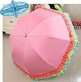 (バニラクリーム)Vanilla cream プリンセス フリル スタイル 折り畳み UVカット 日傘 晴雨兼用 (ピンク)