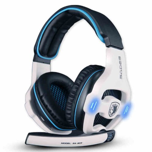 Andget Sades Sa-903 7.1 Surround Sound Headset Usb Headset Gaming Headset With Microphone Blue / White