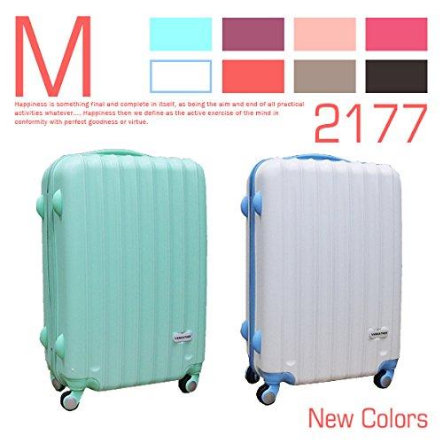 スーツケース キャリーバッグ/ホワイト×ブルー色[cha21-77]マット&ニュアンスカラー 超軽量・Mサイズ・24inch・4輪 ABS 旅行かばん