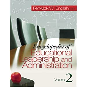 table top view of a glistening conference table with chairs along one side, and a black chair at the end, cover of Encyclopedia of educational leadership