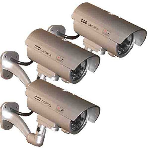 Review Of (3 Pack) Outdoor Fake, Dummy Security Surveillance Camera with Blinking, Flashing Light (S...