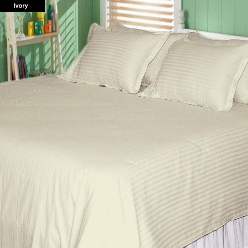 600 Tc 4 Pc King Size Attached Waterbed Sheet Stripe Ivory By Jay'S Home Goods front-934322