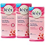 Veet Full Body Waxing Kit For Normal Skin - 20 Strips (Buy 2 Get 1 Free)