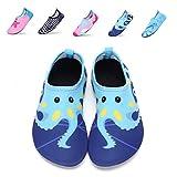 Girls Boys Water Shoes Lightweight Quick-Dry Barefoot Aqua Socks Shoes For Lawn Pool Dance (9.5-10 M US Toddler= 26-27 EU, Wuzei Blue)