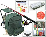 Roddarch© Junior Beginners Fishing Kit Set Inc. Rod, Reel, Tackle Set, Fishing Stool Seat Rucksack & Bait Box