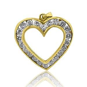 10K Yellow Gold Diamond Heart Pednant 0.60cttw 23mm Tall (i2/i3, i/j)