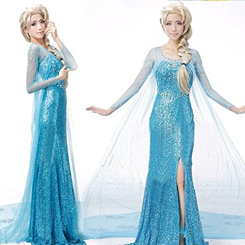 [Frozen Snow Queen Elsa Adult Costume Cosplay Dress with gloves Size M] (Frozen Costume Elsa For Adults)