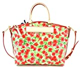 Dooney & Bourke Flower Coated Canvas with Leather Trim Satchel Purse Handbag Red