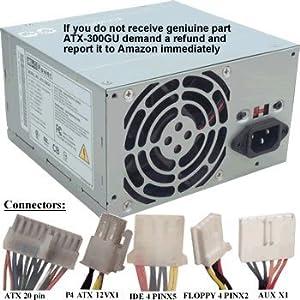 Genuine FSP ATX-300GU 300 Watt Power Supply Replacement w/ 6 Pin AUX Connector