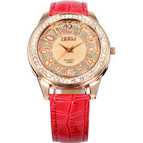 AMPM24 Fashion Bling Crystal Women Lady Girl Analog Red Leather Quartz Watch Gift
