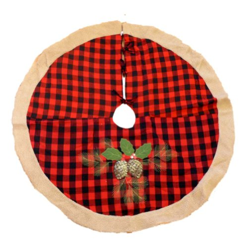 Trimmery Pine-cone Red Plaid Xmas Tree Skirt
