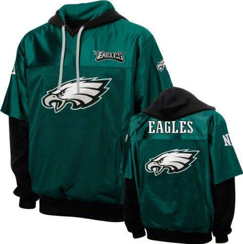 NFL Men's Philadelphia Eagles Grid Iron 2 Pullover Jersey Hoodie (Black/Midnight Green, Medium)