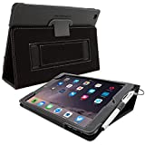 Snugg iPad Air 2 Case in Black Leather - Flip Cover and Stand with Automatic Wake / Sleep, Elastic Hand Strap & Soft Premium Nubuck Fibre Interior to Protect Apple iPad Air 2 - Includes Lifetime Guarantee