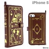 docomo au SoftBank iPhone5 iPhone5S iPhone5C 対応 ディズニー キャラクター レザー ケース カバー Old Book Case アリス・イン・ワンダーランド (ブラウン)