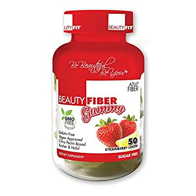 BeautyFit BeautyFiber Gummy, Fiber Supplement For Women, 50 Delicious Gummies, Vegan Approved, Gluten Free
