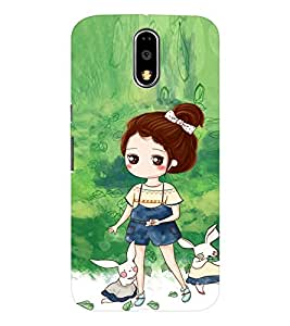 EPICCASE Gorgeous Girl and Rabbit Mobile Back Case Cover For Moto G4 / G4 Plus (Designer Case)