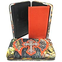 Rhinestone Cross Angel Wings Camouflage Orange Trim Camo Clutch Wallet (Orange Wallet)