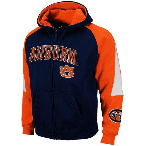 Auburn Tigers Navy Blue-Orange Playmaker Full Zip Hoodie Sweatshirt (Large)