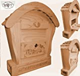 Hbk-Rd-NATUR Letterbox Wood with Natural Light Wood Colour Rounded Roof with BLAU001 Wooden for Garden Garage Einfahrt